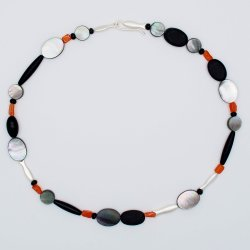 Mother of pearl, Onyx, Carneol Silver
